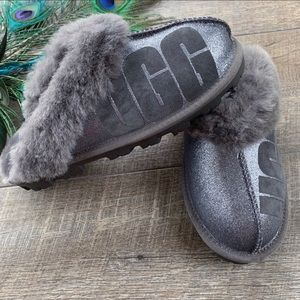 NWOT UGG Gray/ Silver Fluffy Slide-ons